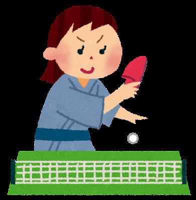 スリッパ卓球のイラスト「浴衣でスマッシュ」
