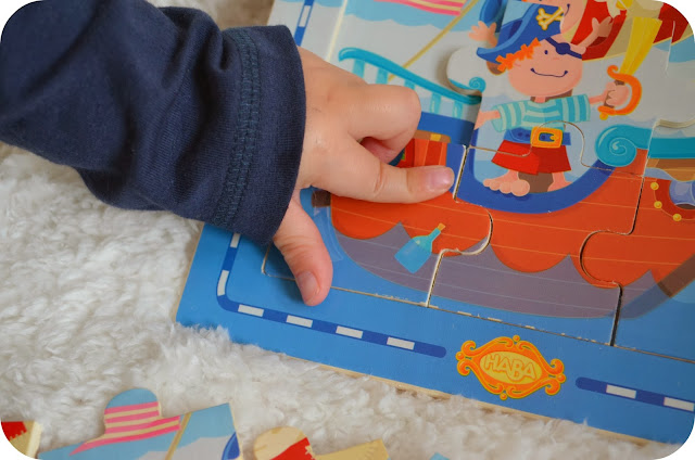 haba puzzles, the toadstool, wooden pirate puzzle, wooden 9 piece puzzle, puzzles for two year olds