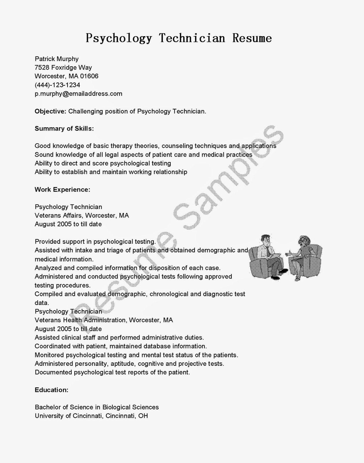 resume samples psychology technician resume sample