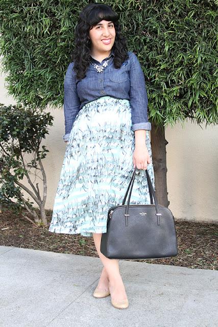 JOA Striped Floral Midi Skirt for Work