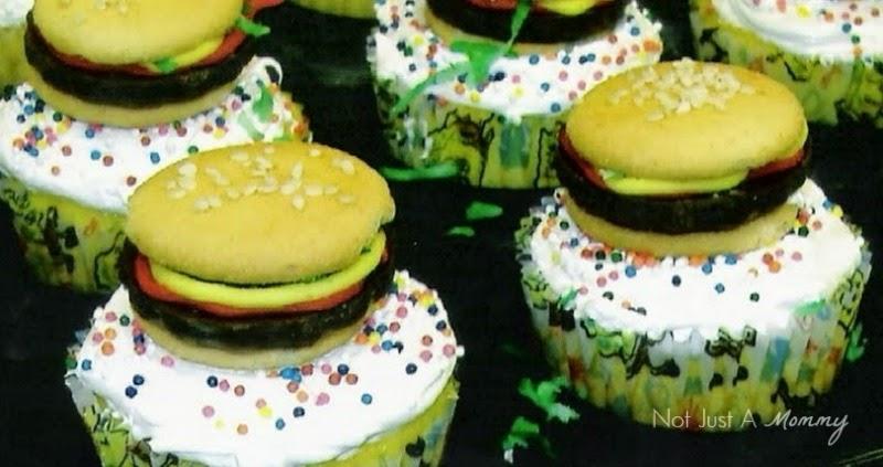 SpongeBob Squarepants Party Ideas; Krabby Patty cupcake toppers