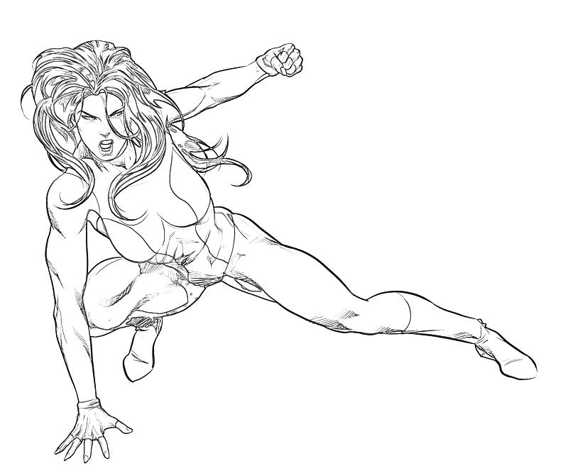 Printable Marvel Ultimate Alliance 2 She Hulk Skill Coloring Pages