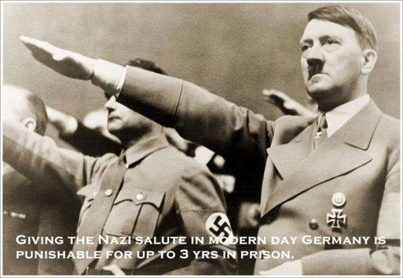 GIVING THEN NAZI SALUTE IN MODERN DAY GERMANY IS PUNISHABLE FOR UP TO 3 YEARS IN PRISON.