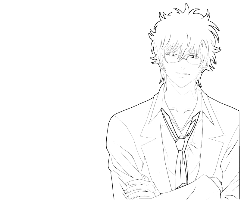 printable-sakata-gintoki-handsome-coloring-pages