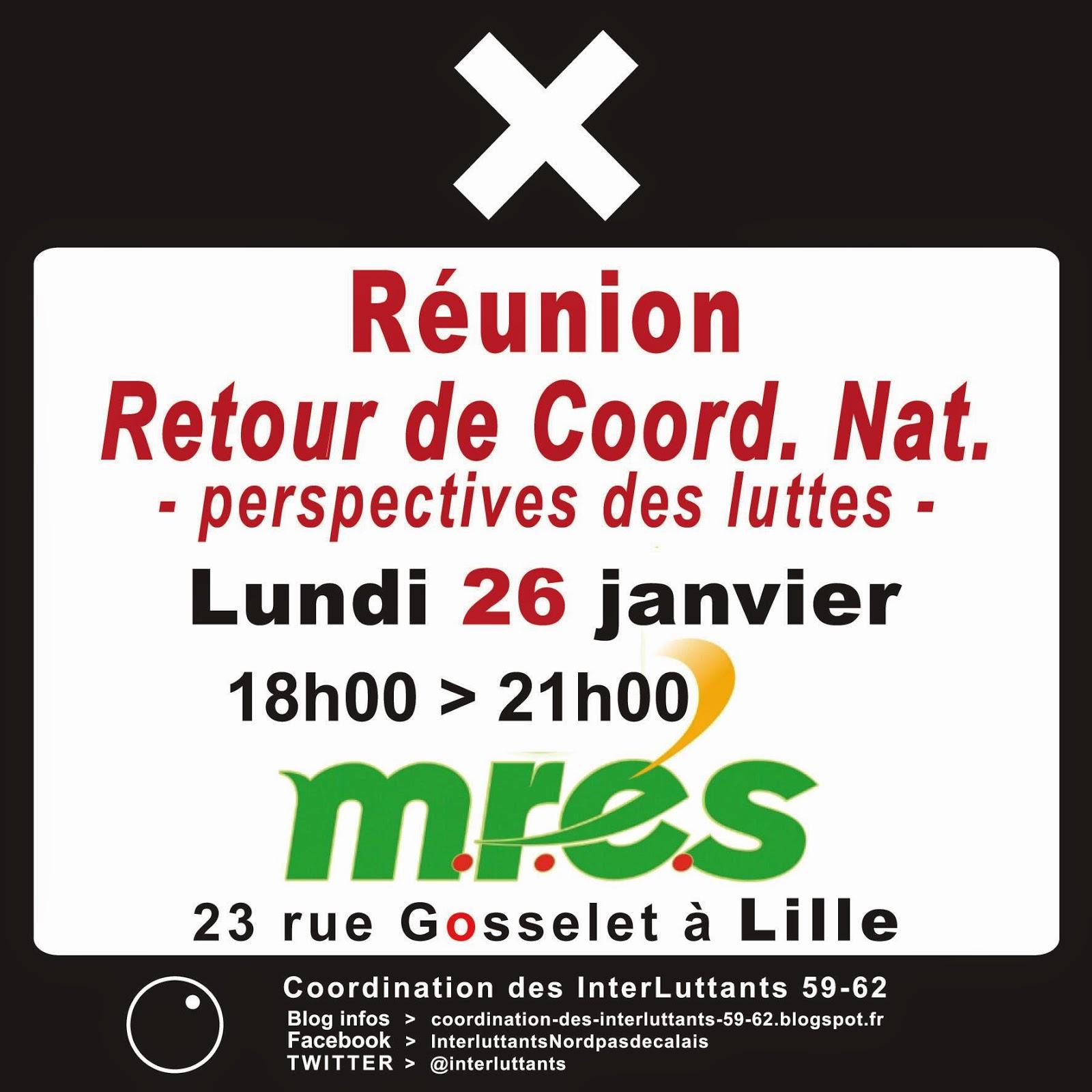 Réunion : Retour de Coord. Nat. - perspectives des luttes - Lundi 26 janvier, de 18h00 à 21h00 M.R.E.S (23 rue Gosselet - LILLE)
