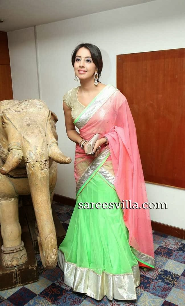 Sanjana In Designer Half Saree