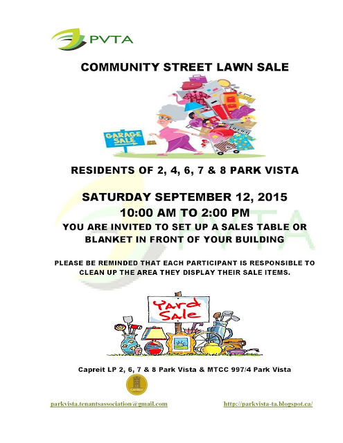 park vista tenants association community street lawn sale save