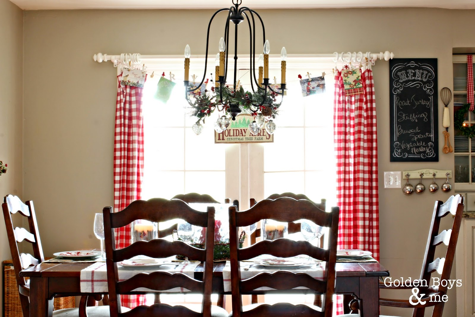 Red and white gingham tablecloths as curtains in Christmas kitchen-www.goldenboysandme.com