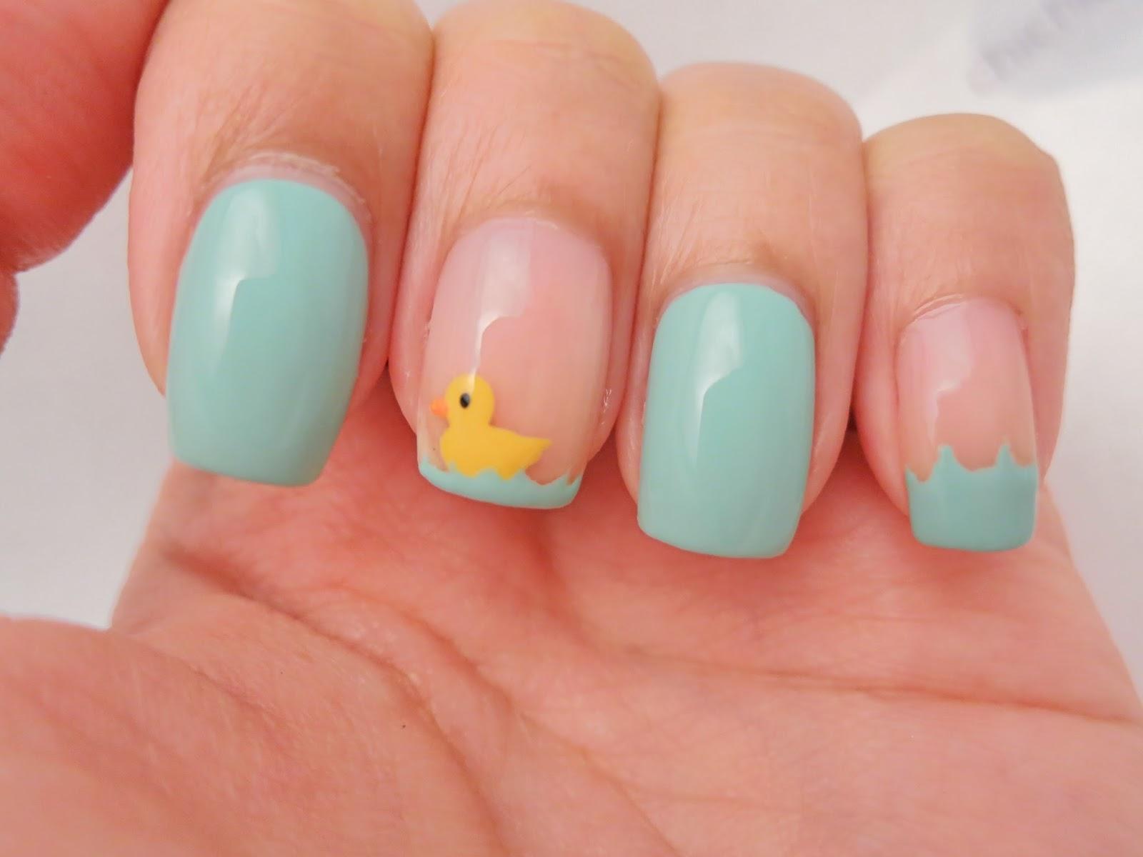 Swimming Yellow Duckling Nail Art Chichicho