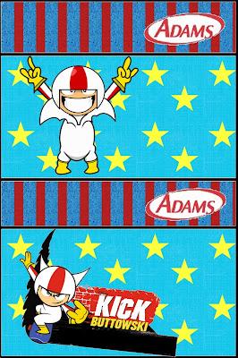 Etiqueta para chicles Adams.