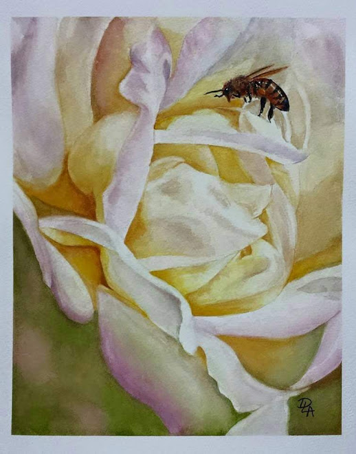 Honeybee and Rose (watercolor) - sold