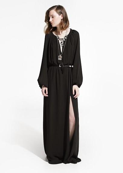 Mango 2015 Elbise Modelleri  dökümlü siyah yırtmaçlı elbise, bol kesim elbise, uzun elbise, günlük elbise