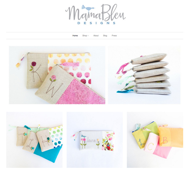 the store front for MamaBleuDesigns on Shopify