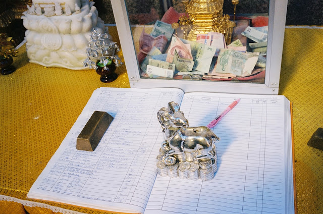 Color film Photography Bangkok of temple guest book