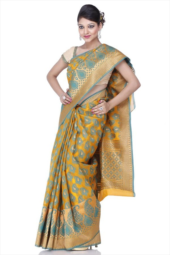 Old Gold Dupion Banarasi Saree