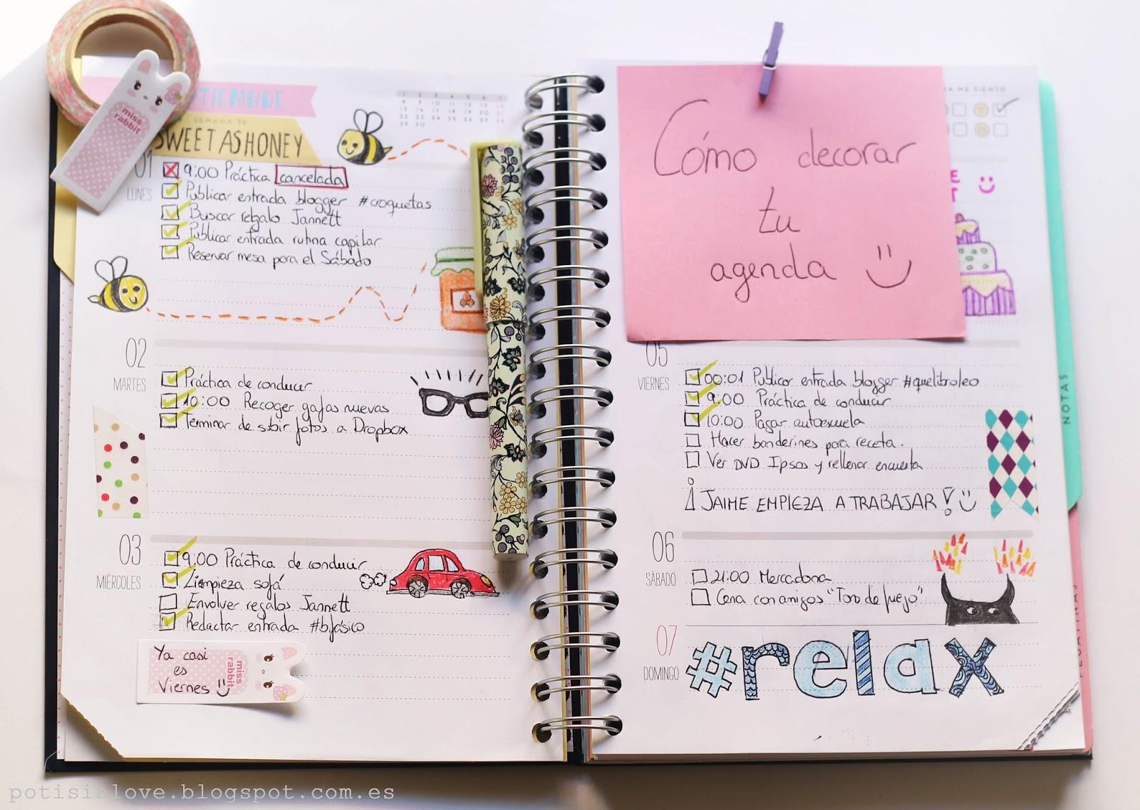 Sarahoria c mo decorar tu agenda - Como decorar un dibujo ...