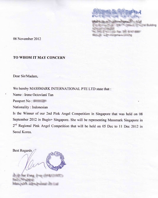 sponsor letter for visa application singapore