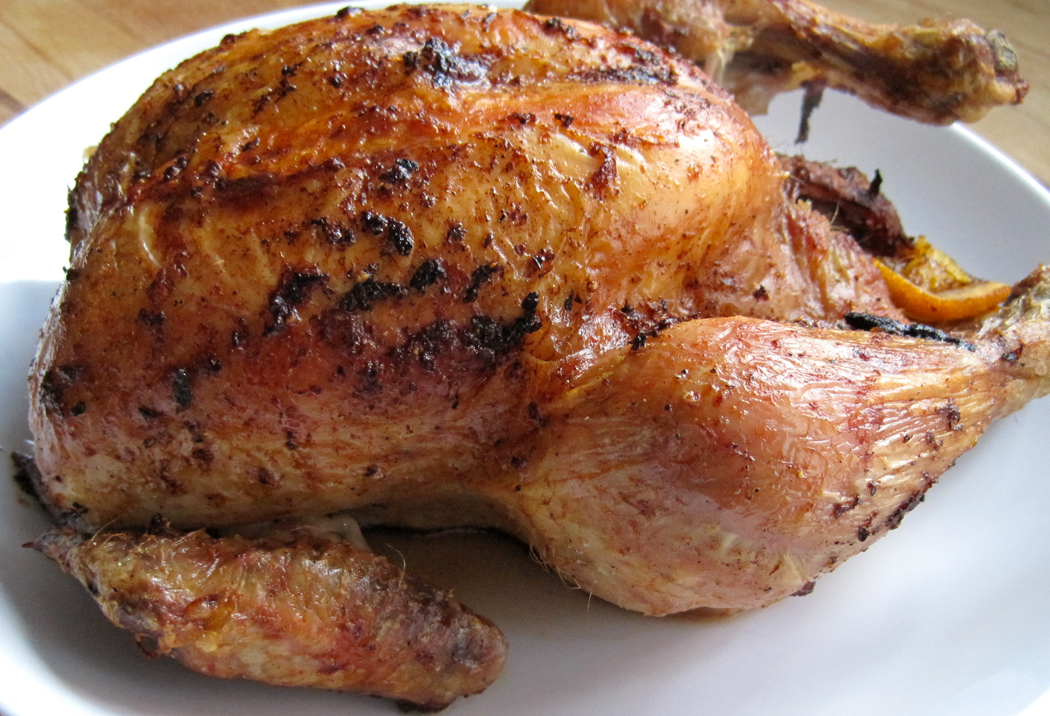 Roast Chicken with Orange and Black Pepper Baste - A Glug of Oil