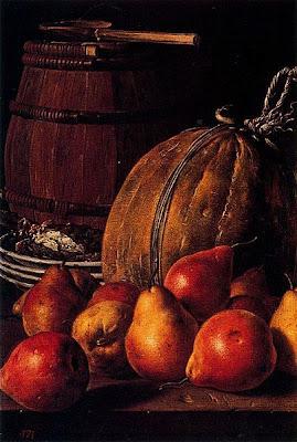 Luis Egidio Meléndez -  Bodegón: peras, melón, platos y barril