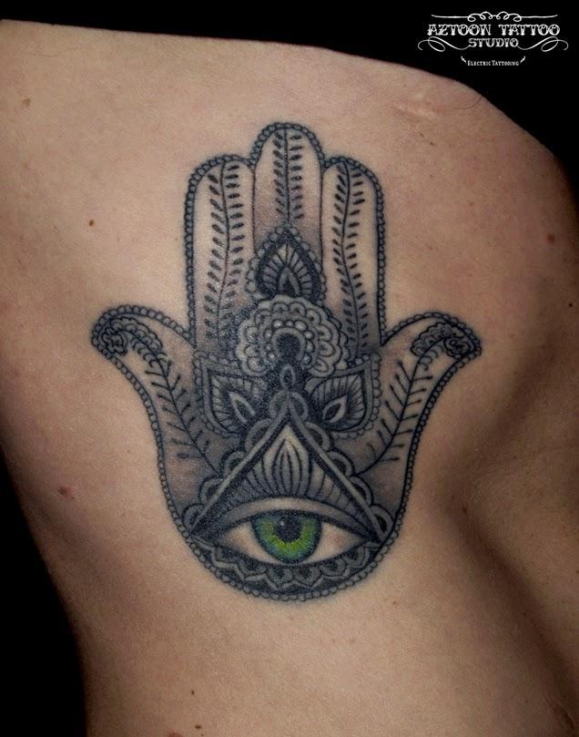 Aztoon tattoo studio hamsa tattoo hand of fatima for Hand of fatima tattoo