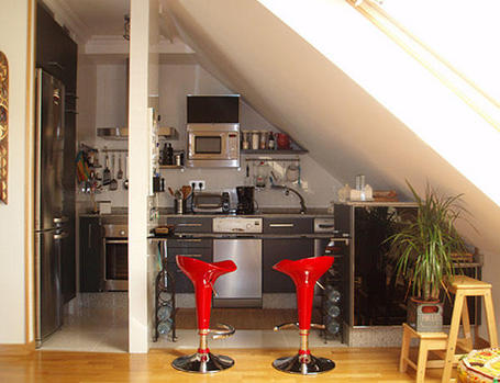 Cocinas en pequenos ambientes espacios reducidos diseno for Cocinas para espacios pequenos