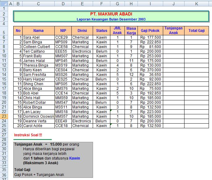 Tugas Spreadsheet Untuk Siswa Smk Kelas X Akuntansi Paket Program Pengolah Angka Sandywarman
