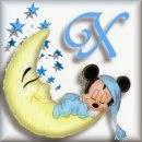 Alfabeto de Mickey Bebé durmiendo en la luna X.