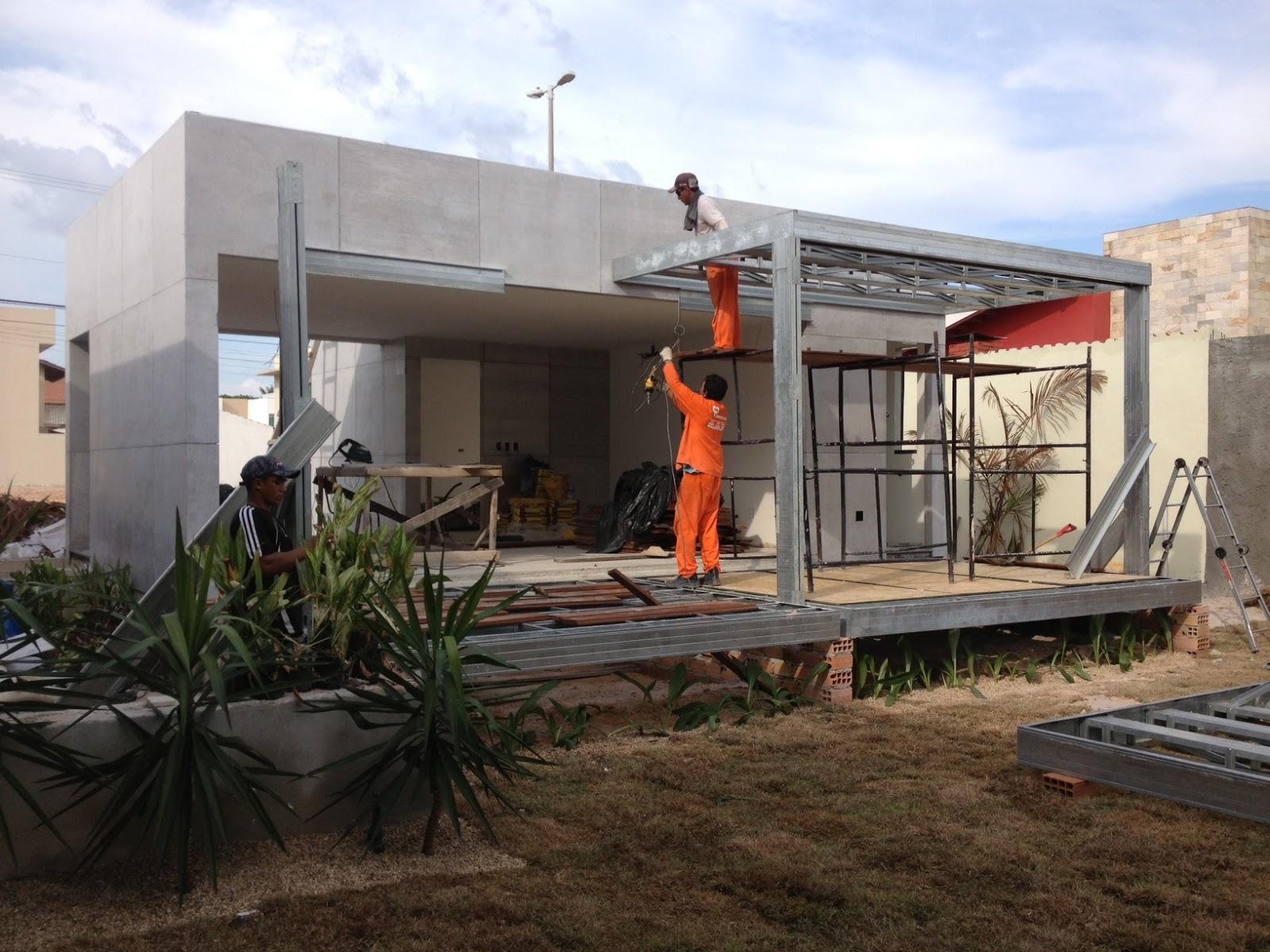 Varanda da casa executada em light steel frame - Casas steel framing ...