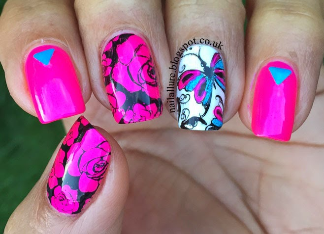 Neon Pink Flowers & Butterflies