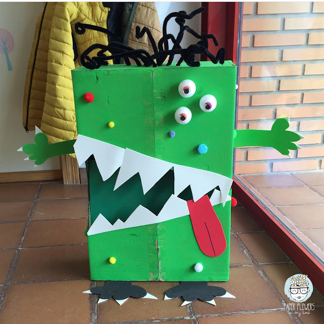 monstruo con caja reciclada
