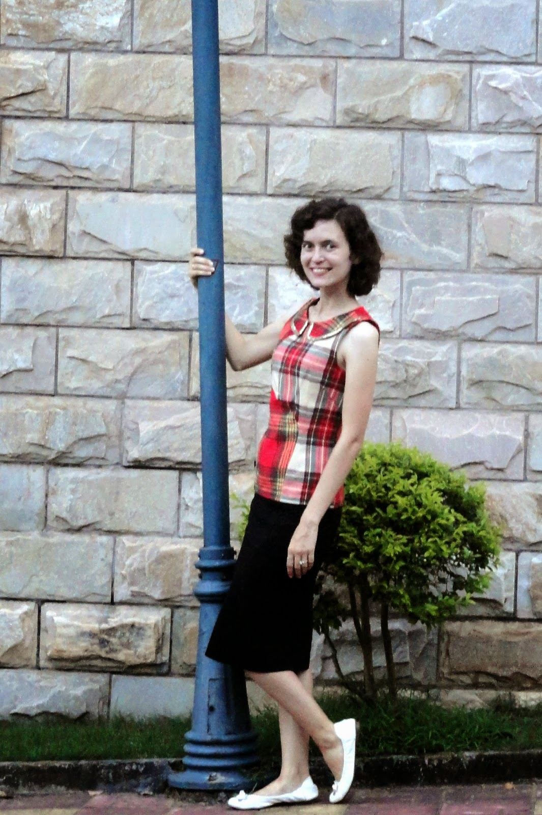 Red Plaid Tank Black Pencil Skirt