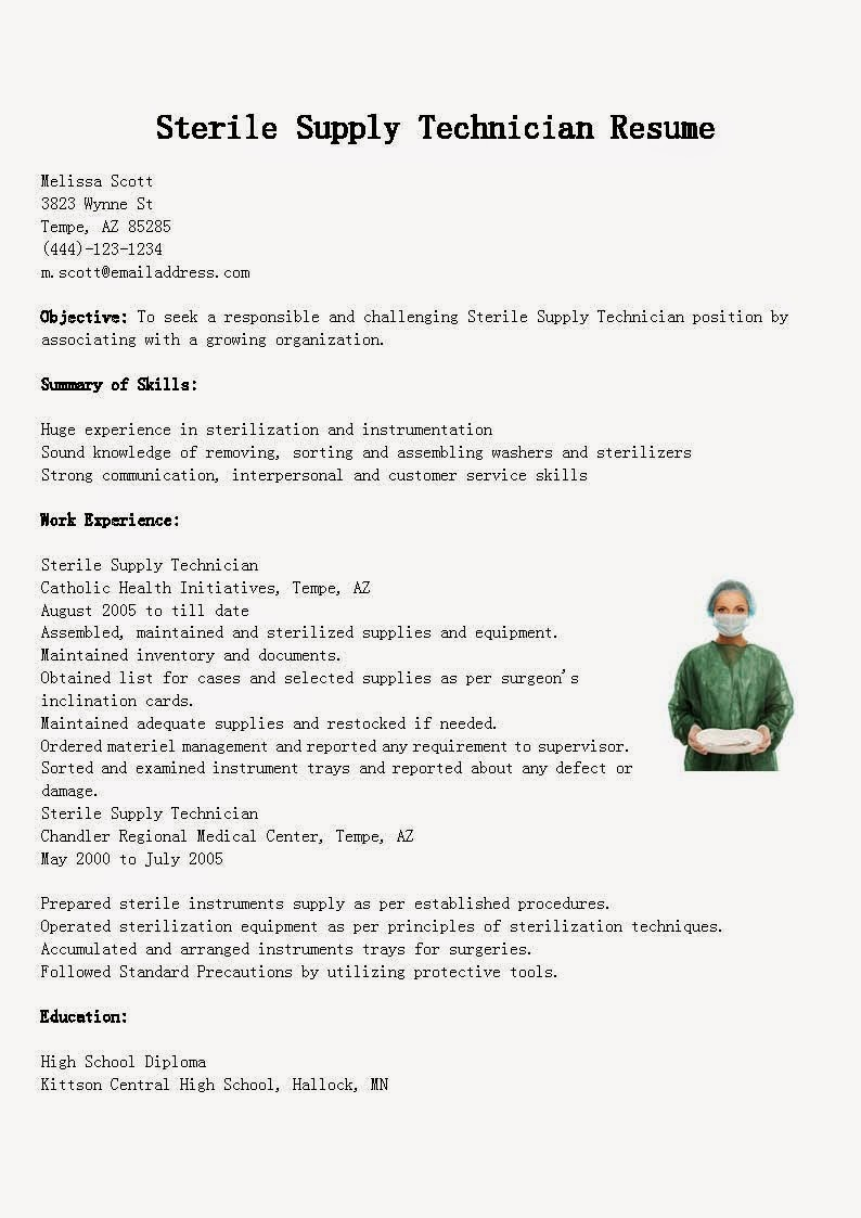 Resume Samples Sterile Supply Technician Resume Sample