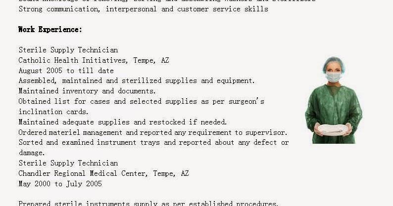 resume samples  sterile supply technician resume sample
