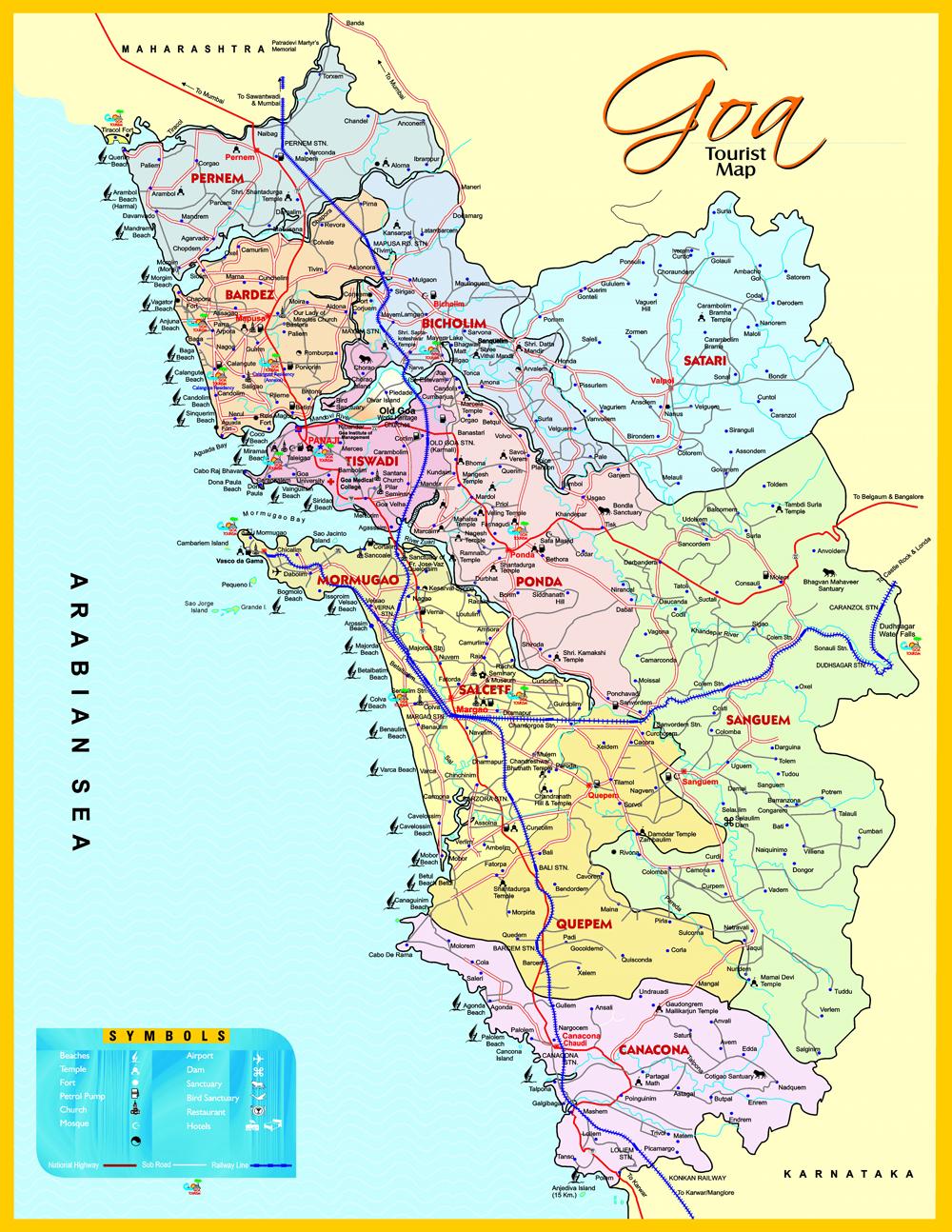 GOA TOURISM MAP TOURIST PLACES IN GOA BEACHES IN GOA SOUTH – South India Map With Tourist Places