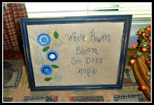 BLUES PENNY RUG POSIES FRAMED STITCHERY SAMPLER