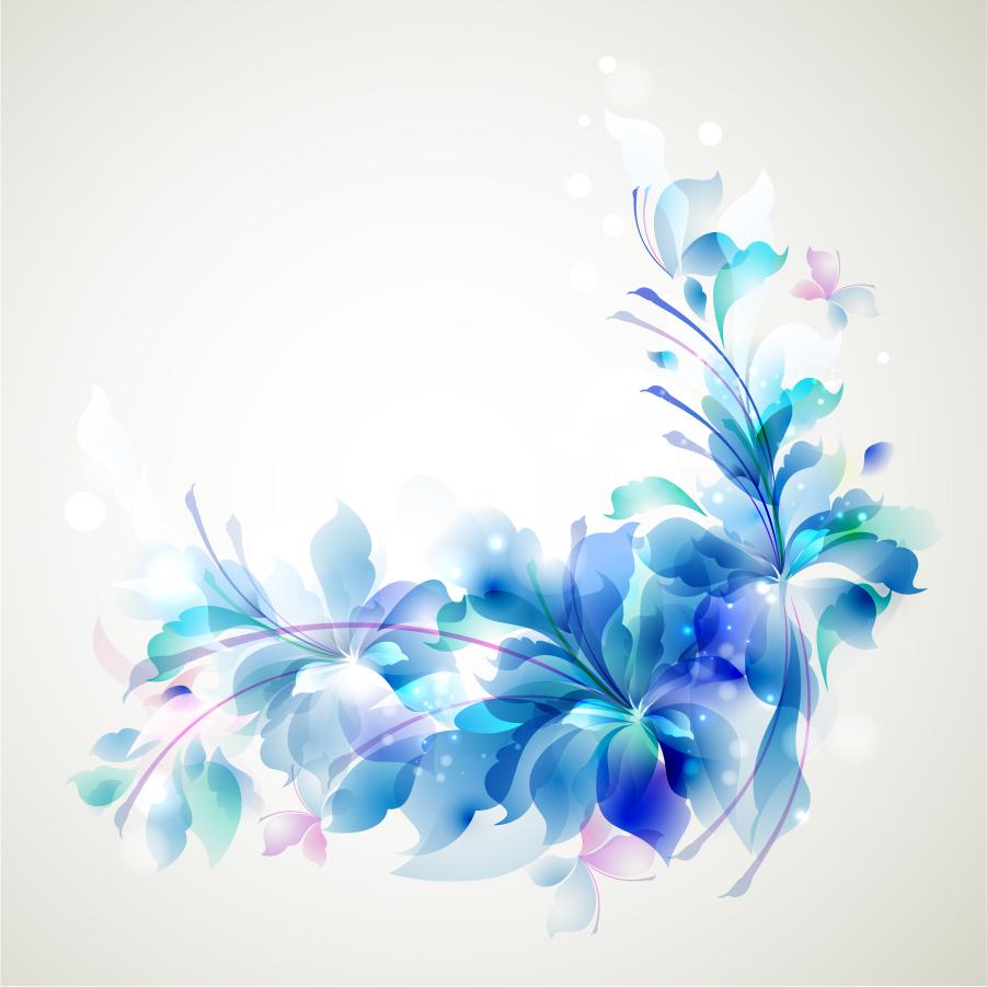 エレガントな青い花のコーナー飾り Elegant Blue Flower background イラスト素材