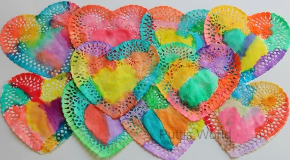 Painted Heart Doily Kids Art Valentine Window Decorations