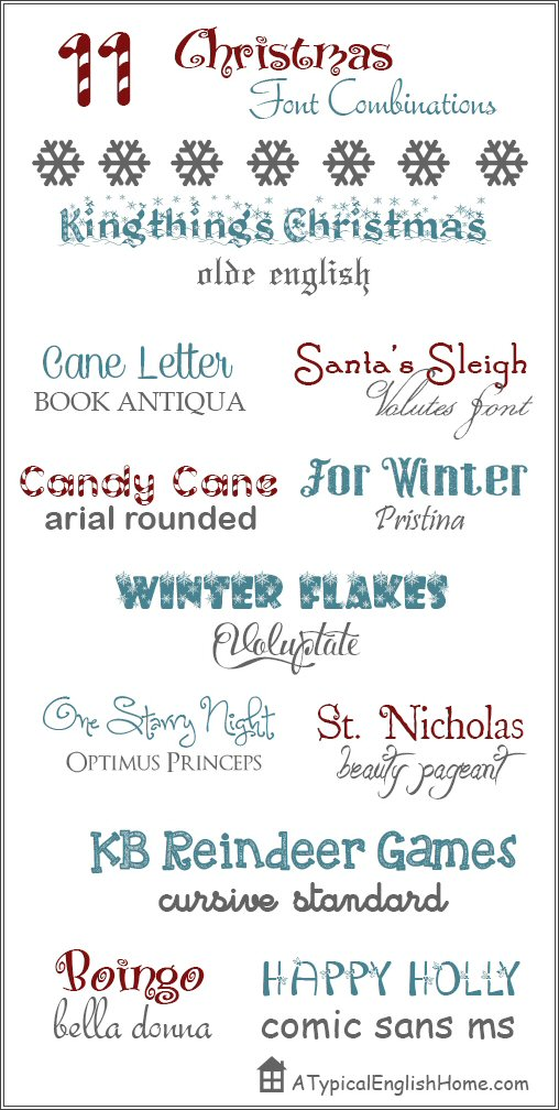 since i shared a post on my favorite font combinations i have been getting the occasional email asking for suggestions for more font combos