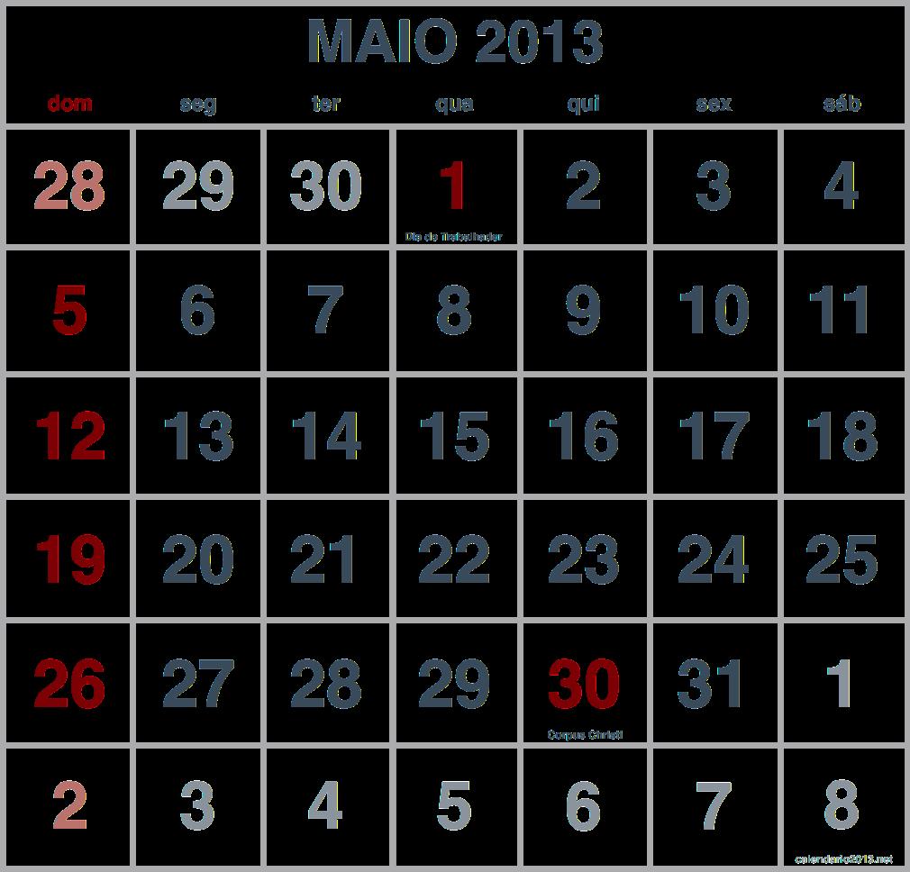 imagem calendario maio 2013
