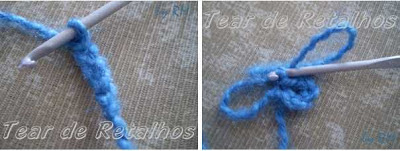 Início da almofada de crochê: correntinhas fechadas com ponto baixíssimo.