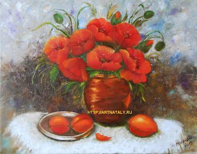 Картина маслом Букет цветы маки в вазе