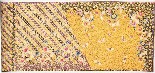 Batik pengaruh Jepang dengan pola Bunga Kupu dan Lereng Bunga