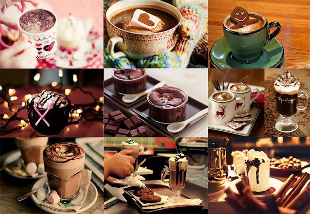 chocolate quente no inverno