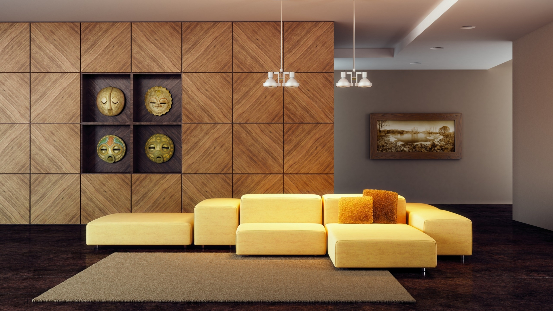 Wallpaper modern living room wallpapers for Modern lounge decor