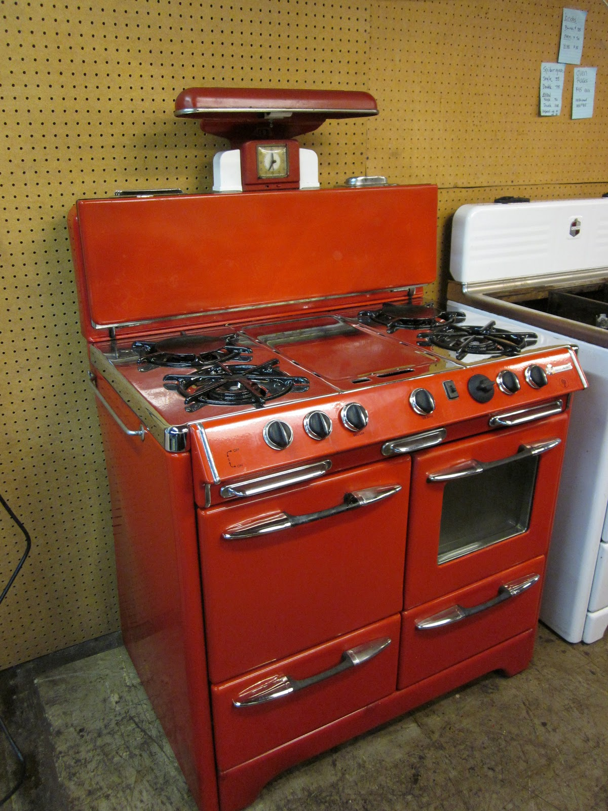 Rescuing antique stoves one at a time: New red O'keefe & Merritt