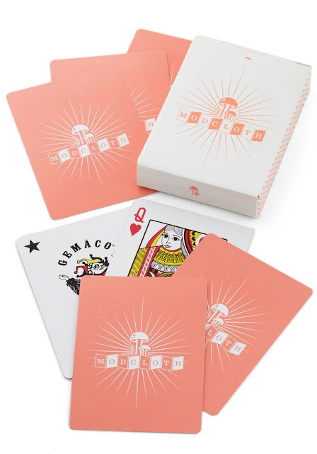 modcloth.com, Modcloth playing cards, pink cards, Modcloth logo, game, gambling, deck of cards, poker, blackjack, brand pride