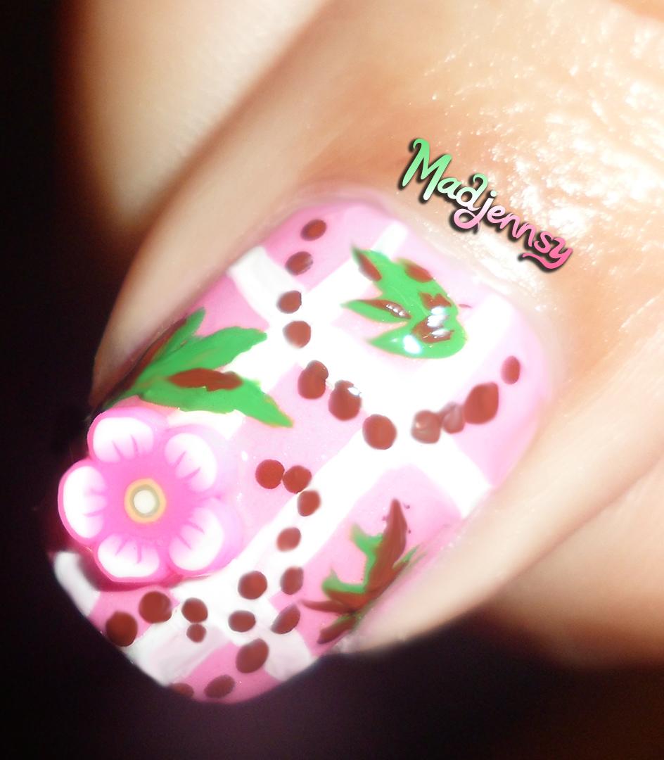 Cute Pink Fimo Floral Baby Nail Art Diseo Floral Madjennsy Nail