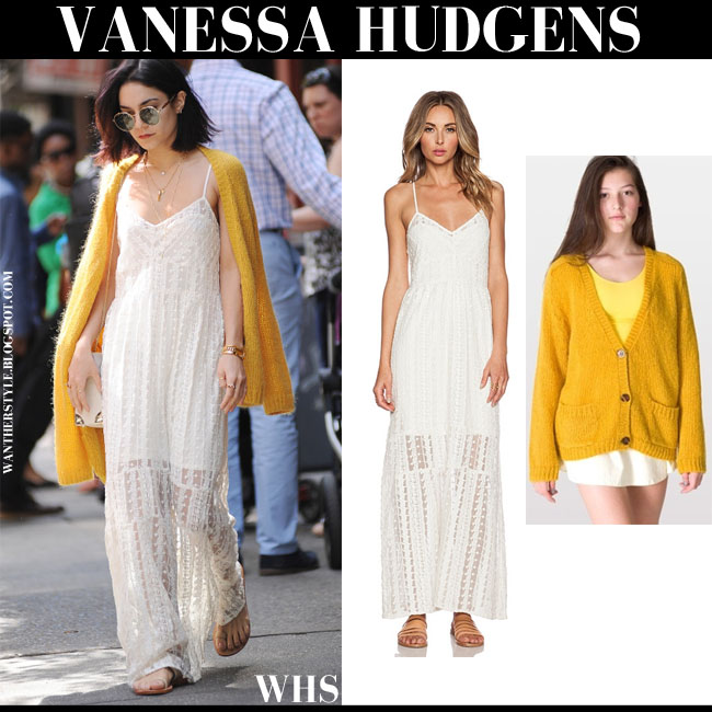 Vanessa Hudgens in ivory lace crochet maxi slip dress Tularosa Charity with mustard cardigan what she wore summer dress trend may 24