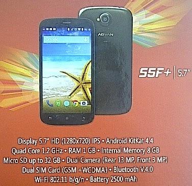 Advan S5F+ Smartphone Android Murah 5.7 inch Rp 1.9 Jutaan
