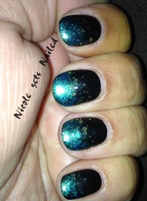 Blue Teal Gold Glitter Gradient on Black